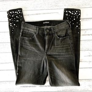 Express   High Wasted Pearl Embellished Jeans